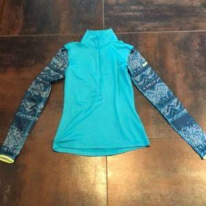 Blue half zip turtle neck sweatshirt